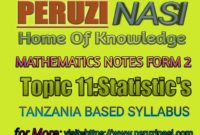 MATHEMATICS FORM 2 TOPIC 11:STATISTICS