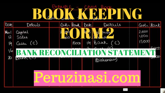FORM 2 BOOK KEEPING TOPIC 3:BANK RECONCILIATION STATEMENT