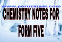 CHEMISTRY NOTES FOR FORM FIVE