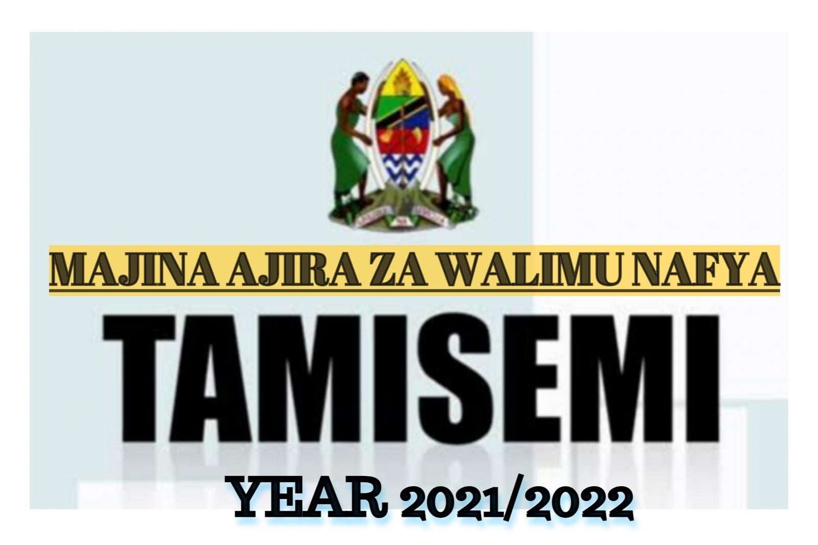 TAMISEMI:Majina Ajira Mpya Za Walimu 2021/2022 PDF